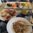 Enjoying a continental breakfast